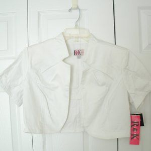 R&K White Shrug, Short Sleeve, Large